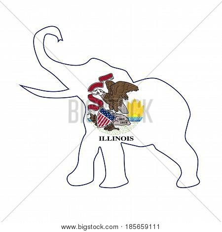 The Illinois Republican elephant flag over a white background