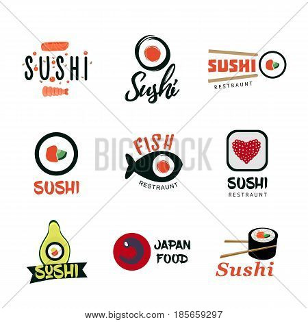 Japanese food logos set with inscriptions sushi rolls fish ginger wasabi caviar and chopsticks isolated vector illustration