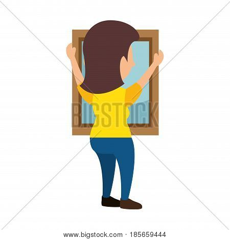 Woman putting a mirrow icon vector illustration graphic design