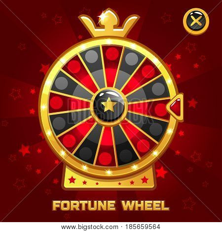 Vector Gold Fortune Wheel illustration For Ui Game element, background glow