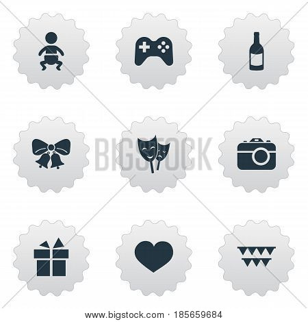 Vector Illustration Set Of Simple Celebration Icons. Elements Game, Soul, Ribbon And Other Synonyms Beverage, Gift And Mask.