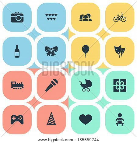 Vector Illustration Set Of Simple Celebration Icons. Elements Infant, Baby Carriage, Domestic And Other Synonyms Fizz, Play And Gift.