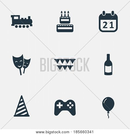Vector Illustration Set Of Simple Birthday Icons. Elements Special Day, Train, Cap And Other Synonyms History, Hat And Sweetmeat.