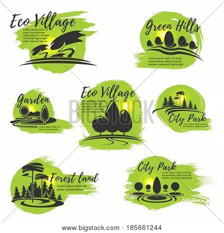 Eco gardening or urban horticulture and planting design company vector icons set. Green village and parkland or woodlands nature landscaping service symbols of trees and greenery