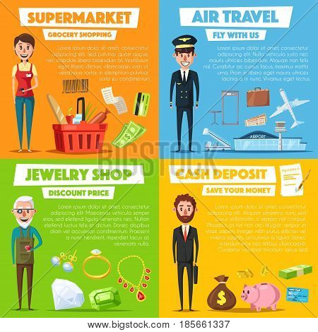 Shopping, jewelry, air pilot and manager profession vector posters. Grocery seller or cashier, jeweler with diamond gems and aircraft pilot, bank manager or businessman with money and credit card