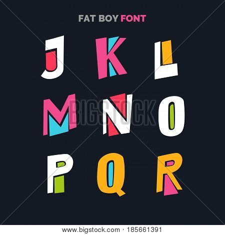 Decorative font in a bold comic style, for titles and labels. English letters on a black background. Vector illustration.