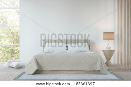 Modern white bedroom in the forest 3d rendering image.There is a king size bed wooden floors and large glass windows. Can look out to see the beautiful nature.