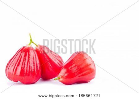 red rose apple or water apples  on white background healthy rose apple fruit food isolated