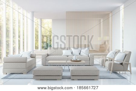 Modern white living room and bedroom 3D rendering image.There are living room has a bedroom in the back . There are a white tile floor and large glass window overlooking the surrounding nature and forest