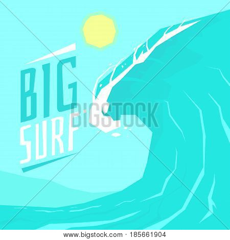 Poster big surf with big wave and the sun. Vector illustration of colorful cartoon style