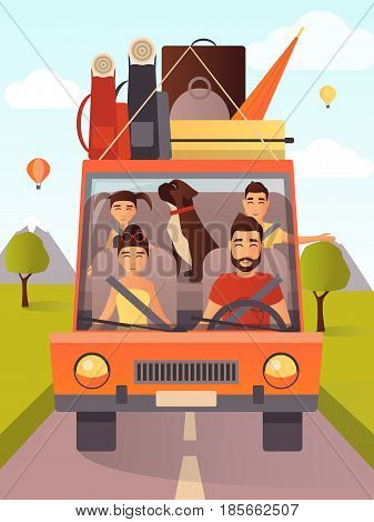 Vector illustration of happy family with pet traveling by car. Summer vacations, summer holiday concept design element in flat style.