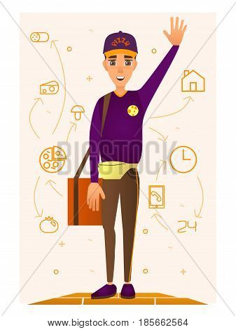Vector illustration of delivery man with pizza box on shoulder and raised left hand. Pizza ingredients and delivery icons, flat style design elements.