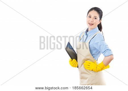 Woman Clean Business Holding Digital Tablet