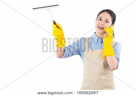 Girl Wipe Glass By Holding A Wiper