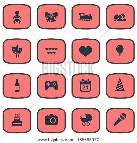 Vector Illustration Set Of Simple Holiday Icons. Elements Train, Beverage, Resonate And Other Synonyms Carriage, Beverage And Resonate.