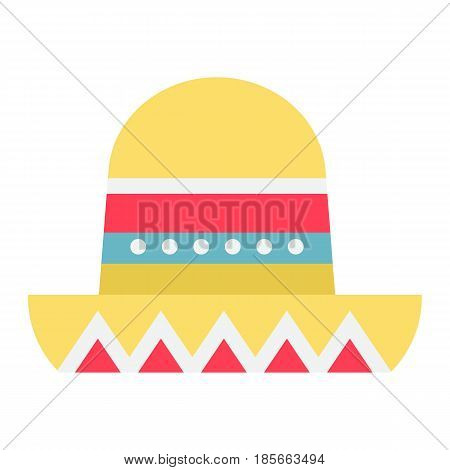Sombrero Mexican hat flat icon, Travel and tourism, vector graphics, a colorful solid pattern on a white background, eps 10.