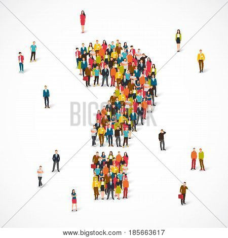 Large group of people lined up as a question mark. Vector illustration on white background. Concept of the opinion poll.
