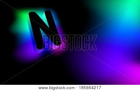 Abstract letter N. Creative glow pattern 3D logo corporate style of the company or brand name N. Black letter abstract, multicolored, gradient, blurred background. Elements of graphic design.