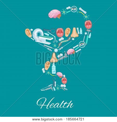 Health medical vector poster of Hygieia Bowl symbol design of healthcare medicines and human organs. Surgery scalpel, MRI scan and nose spray or drops, dentistry scalpel, brain nerves and catheter