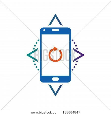 Smartphone Compass Calibration sign. vector icon solid logo illustration pictogram isolated on white
