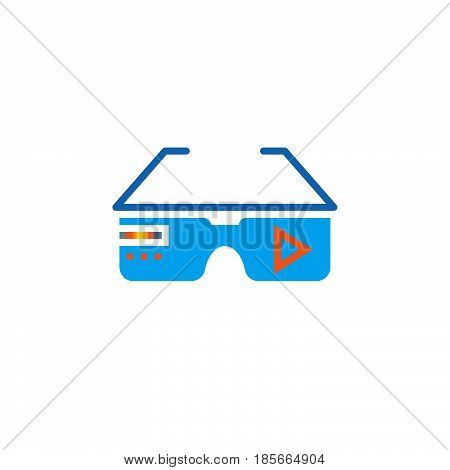 virtual reality eyeglasses icon vector solid logo illustration pictogram isolated on white