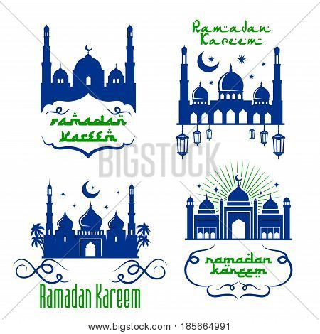 Ramadan Kareem icons design of mosque and lanterns, crescent moon and twinkling stars in blue sky. Vector greeting calligraphy text and Arabic ornaments for Muslim religious holiday celebration design