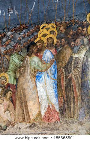 PADUA ITALY - MAY 3 2016: The frescos Judas kiss in Baptistery of Duomo or The Cathedral of Santa Maria Assunta by Giusto de Menabuoi (1375-1376).