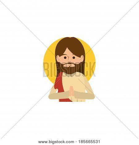 cartoon jesus christ icon over white background. colorful design. vector illustration