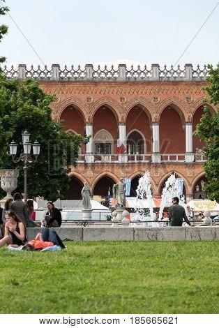 PADUA ITALY - MAY 3 2016: Lodge Amulea in the Great piazza of Prato della Valle also known as Ca' Duodo Palazzo Zacco in Padua Italy