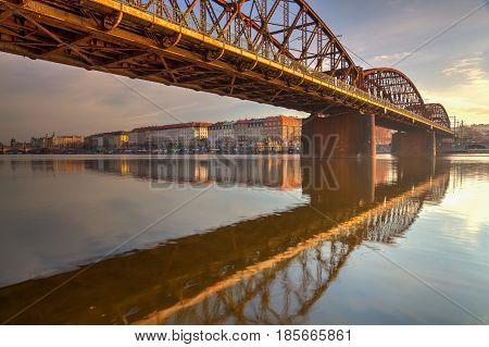 Prague Czech Republic - May 112017: Old iron railway bridge in PragueCzech Republic. The original bridge over the Vltava river built between 1871 - 1872. HDR Image