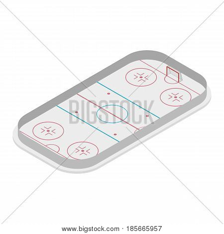 Field for playice ice hockey with a markings and gates isolated on white background. Flat 3D isometric style vector illustration.