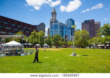 Boston MassachussettsUSA - July 2 2016: Architecture in Boston harbor. It is a natural harbor and estuary of Massachusetts Bay. Boston tourism annually brings about 8 billion dollars