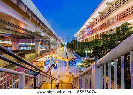 TAIPEI TAIWAN - APRIL 18: This is a view of Taipei main station architecture and outdoor bus stop outside the main station at night on April 18 2017 in Taipei