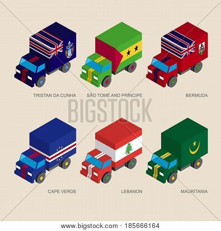 Set of isometric 3d cargo trucks with flags  of countries in Atlantic. Cars with standards - Mauritania, Cape Verde, Lebanon, Tristan da Cunha, Sao Tome, Bermuda. Design elements.
