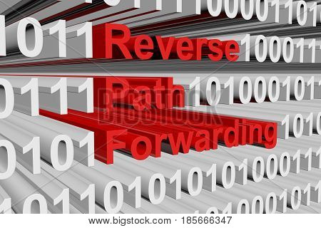 Reverse path forwarding in the form of binary code, 3D illustration