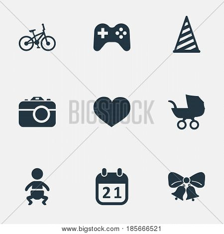 Vector Illustration Set Of Simple Birthday Icons. Elements Baby Carriage, Bicycle, Cap And Other Synonyms Resonate, Jingle And Carriage.