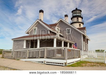 Truro Massachusetts USA - July 11 2016: The Highland Light (previously known as Cape Cod Light) is an active lighthouse on the Cape Cod National Seashore in North Truro Massachusetts.