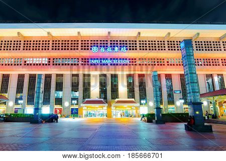 TAIPEI TAIWAN - APRIL 03: Taipei main station entrance. This is the main station for people to travel to other areas of Taiwan on April 03 2017 in Taipei