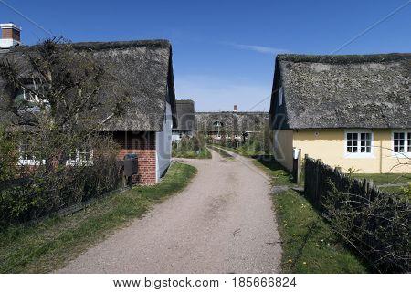 Traditional street with houses in Sonderho on the danish island Fanoe.