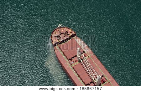 Aerial view of a cargo ship at Panama Canal