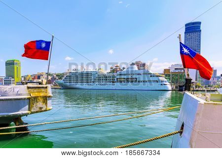 KEELUNG TAIWAN - APRIL 04: This is the a view of a large ship with Taiwanese flags in Keelung harbor which is one of the main ports on April 04 2017 in Keelung