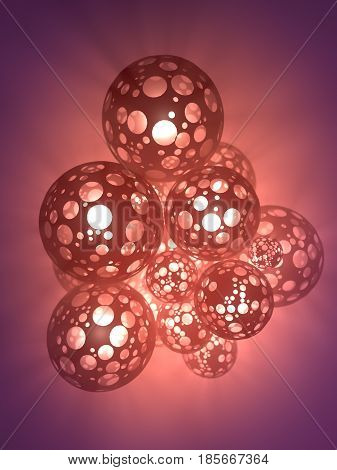 Abstract group of spheres with holes. Volumetric light beams. 3d rendering