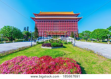 TAIPEI TAIWAN - APRIL 03: This is the entrance to the Grand Hotel a famous hotel which has been built in the style of an ancient Chinese temple on April 03 2017 in Taipei