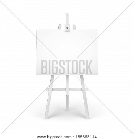 Vector Wooden White Easel with Mock Up Empty Blank Horizontal Canvas Isolated on Background