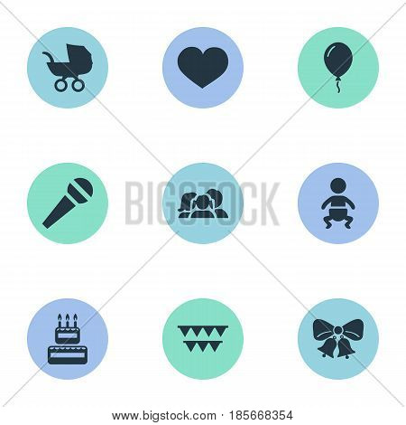 Vector Illustration Set Of Simple Celebration Icons. Elements Baby Carriage, Domestic, Soul And Other Synonyms Soul, Resonate And Domestic.