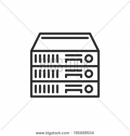 Rack Servers line icon outline vector sign linear style pictogram isolated on white. Symbol logo illustration. Editable stroke. Pixel perfect