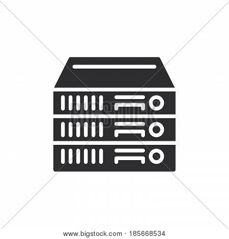 Rack Servers icon vector filled flat sign solid pictogram isolated on white. Symbol logo illustration. Pixel perfect