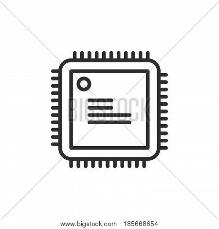 Cpu processor line icon outline vector sign linear style pictogram isolated on white. Symbol logo illustration. Editable stroke. Pixel perfect