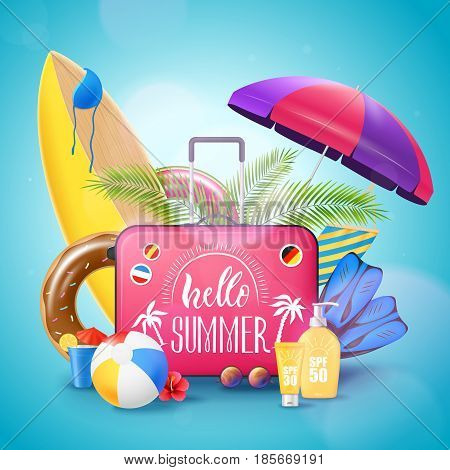 Summer tropical island beach resort vacation advertisement background poster with surfboard luggage suncream and bikini vector illustration