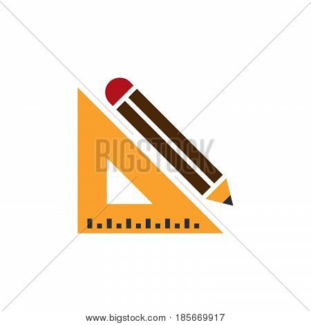 Pencil And Ruler Icon Vector, Solid Logo, Pictogram Isolated On White, Pixel Perfect Illustration